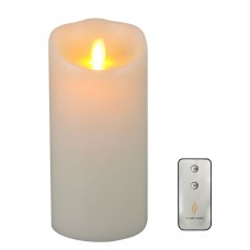 "Remote Included 3.5"" x 5""  Wax Flameless Moving Wick Candle with Timer, Ivory"