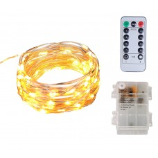 16Ft 60LED Warm White Starry String Lights /Waterproof 3AA Battery Case with Remote&Timer, for Indoor, Outdoor, Christmas Decorative , Patio, Wedding, Garden, Room/Copper Wire