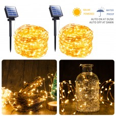 Moonflor Solar Fairy String Light, 2 Pack 100 LED 8 Modes Copper Wire Lights Waterproof Outdoor String Lights Indoor/Outdoor, Gardens, Patio, Wedding, Bedroom, Christmas Party Decoration(Warm White)
