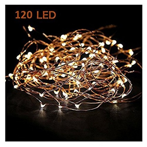 Minetom 120 Leds 20ft Copper Wire String Lights Warm White Fairy Starry Lights On A Flexible Copper Wire Perfect For Home Decoration Party